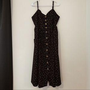 Black Polka Dotted Maxi Dress
